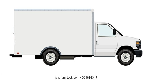 Cargo transportation by car, moving van, on a transparent background