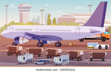 Cargo Transportation by Plane Flat Illustration. Loading Luggage Compartment Aircraft. Foreground Special Equipment and Trucks Cargo are Prepared for Delivery to Aircraft Background Terminal.