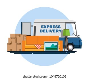 Cargo transportation. Express delivery. Express delivery by car. Trucking by car. Services of delivery by car. Car for delivery. Truck for cargo transportation. Flat style. Flat design
