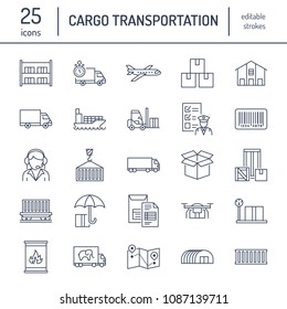 Cargo transportation flat line icons. Trucking, express delivery, logistics, shipping, customs clearance, cargoes package, tracking and labeling symbols. Transport thin signs for freight services.