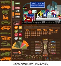 Cargo transportation infographics, trucks, lorry. Elements infographics.  Vector illustration