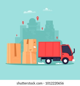 Cargo transportation, moving to a new apartment, boxes with things. Flat vector illustration in cartoon style.