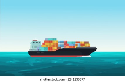 Cargo transportation ship with containers in the ocean. Delivery, shipping freight transportation concept vector illustration.