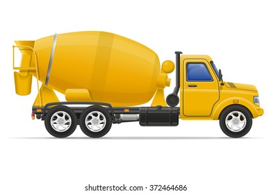 cargo truck concrete mixer vector illustration isolated on white background
