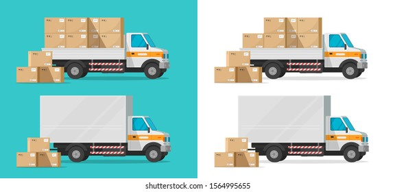 Cargo truck loading parcel package boxes or delivery van vehicle vector illustration, flat cartoon industrial automobile or car with freight, idea of postal logistics or warehouse courier isolated