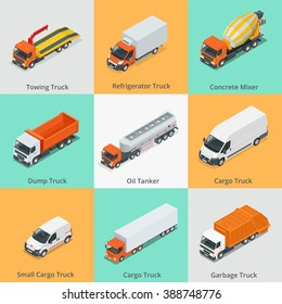 Cargo Truck set icons. Flat 3d isometric high quality city service transport
