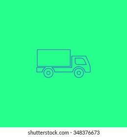 Cargo truck Simple outline vector icon on green background