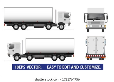 Cargo truck template isolated on white for car branding and advertising. Blank space for advertising. Vector illustration.