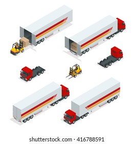 Cargo Truck transportation. Commercial. Logistics. Delivery. Warehouse. Flat 3d isometric illustration. For infographics and design games. Industrial transport.