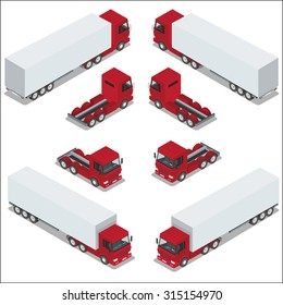 Cargo Truck transportation. Commercial transport. Logistics. Flat 3d isometric vector illustration. For infographics and design games. Car for the carriage of goods.