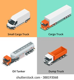 Cargo Truck transportation. Flat 3d isometric vector illustration. For infographics and design