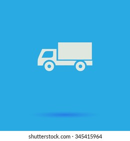 Cargo truck White flat vector simple icon on blue background with shadow