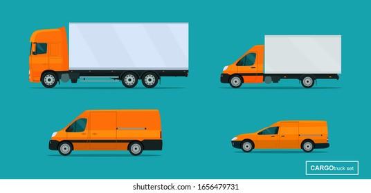Cargo trucks set. Side view. Vector flat style illustration.