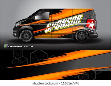 cargo van and car decal design vector. abstract background livery for vehicle vinyl wrap