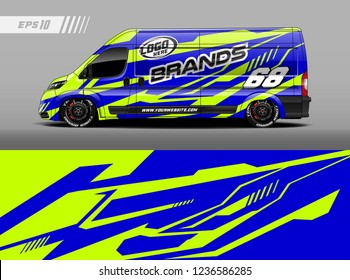 Cargo van car wrap design vector. Graphic abstract stripe racing background kit designs for wrap vehicle, race car, branding car.