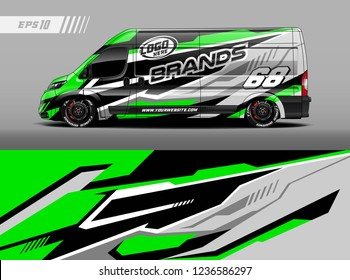 Cargo van car wrap design vector. Graphic abstract stripe racing background kit designs for wrap vehicle, race car, branding car.