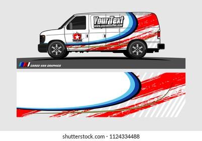 cargo Van decal design. Abstract background vector for vehicle vinyl wrap.