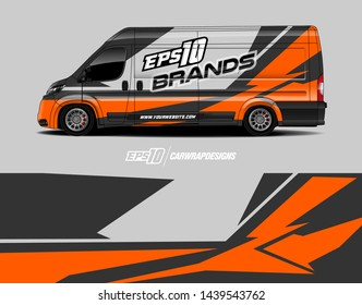 Cargo van decal design concept.  Abstract racing background for wrapping vehicle, race cars, pickup trucks and racing livery.