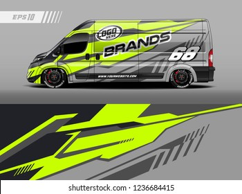 Cargo van decal design vector. Graphic abstract stripe racing background kit designs for wrap vehicle, race car, branding car.