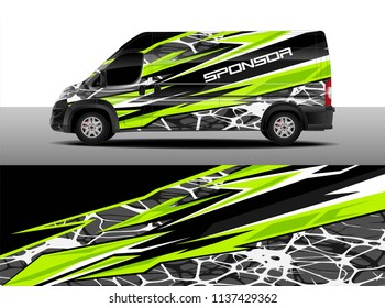 Cargo van decal designs, truck and car wrap vector. Graphic abstract stripe designs for branding, offroad race, adventure and livery car