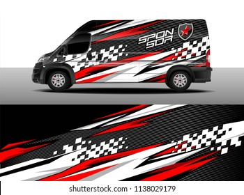 Cargo van decal designs, truck and car wrap vector. Graphic abstract stripe designs for branding, race, adventure and livery car