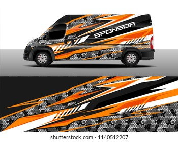 Cargo van decal designs, truck and car wrap vector. Graphic abstract stripe designs for advertisement, race, adventure and livery car