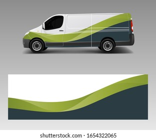 Cargo van decal with green wave shapes , truck and car wrap vector, Graphic abstract stripe designs for wrap branding vehicle