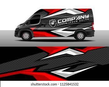 Cargo Van Decal, Truck And Car Wrap Vector, Graphic Abstract Stripe Designs  For Wrap