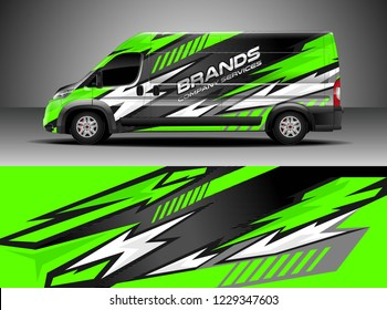 Cargo van decal, truck and car wrap vector, Graphic abstract stripe designs for wrap branding vehicle