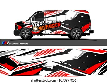 Cargo van graphic vector. abstract racing shape with modern camouflage design for vehicle vinyl wrap