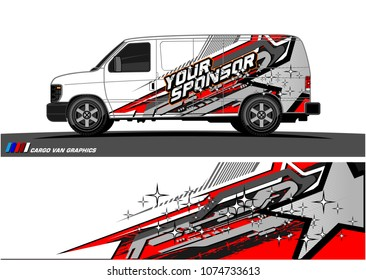 Cargo van graphic vector. abstract star shape with grunge background design for vehicle vinyl wrap