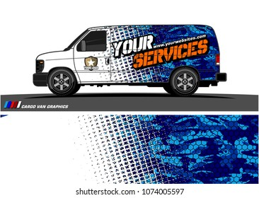 Cargo van graphic vector. modern camouflage with grunge effects design for vehicle vinyl wrap