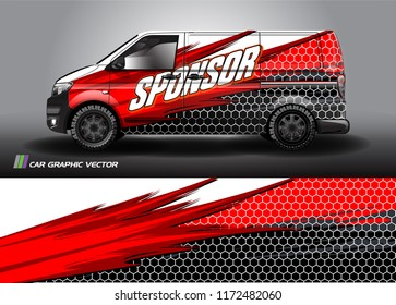 Cargo van Livery graphic vector. abstract racing shape with grunge background design for vehicle vinyl wrap