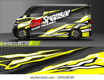 cargo van livery graphic vector. abstract race style background design for vehicle vinyl wrap and car branding