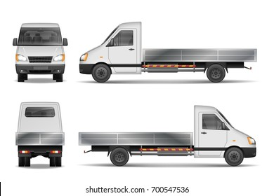 Cargo van vector illustration isolated on white. City commercial lorry. delivery vehicle mockup from side, front and rear view. Vector illustration.