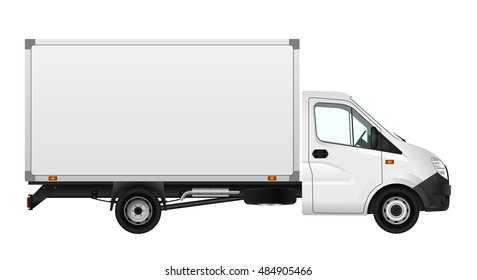 Cargo van vector illustration on white. City commercial minibus template. Isolated delivery vehicle. Side view