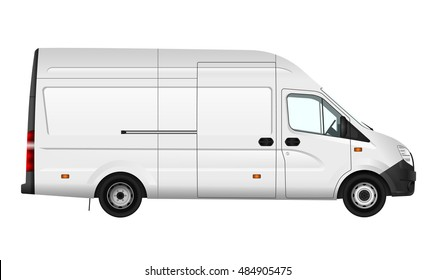 Cargo van vector illustration on white. City commercial minibus template. Isolated delivery vehicle. View from right side.