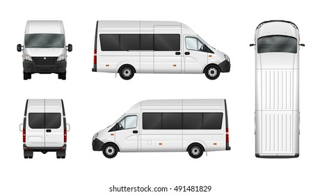 Cargo van vector illustration on white background. Isolated commercial minibus template. All elements in the groups on separate layers. View from side, front, back, top.