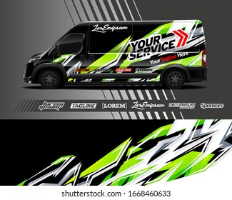 Cargo van wrap decal designs. Graphic abstract stripe designs for vehicle branding. Full vector EPS 10