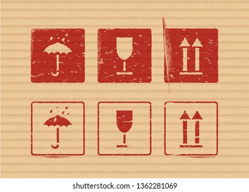 Cargo vector cardboard box icon stamp set: fragile, keep dry, top for logistics or packaging. Means in need of protection from moisture, cargo fragility, this way up.
