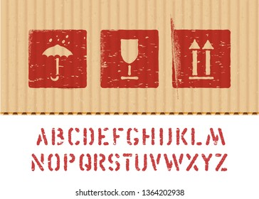 Cargo vector cardboard box icon stamp set: fragile, keep dry, top and crate font for logistics or packaging. Means in need of protection from moisture, cargo fragility, this way up.