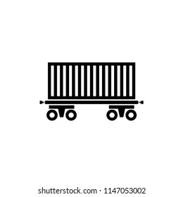 Cargo Wagon, Rail Car. Flat Vector Icon illustration. Simple black symbol on white background. Cargo Wagon, Rail Car sign design template for web and mobile UI element