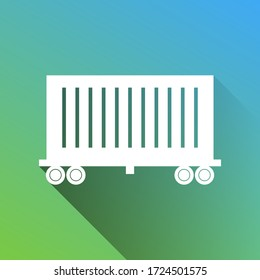 Cargo wagon sign. White Icon with gray dropped limitless shadow on green to blue background. Illustration.