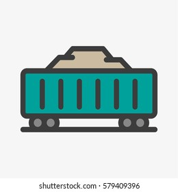 Cargo Wagon Train Container Minimal Colorful Flat Line Stroke Icon Pictogram Symbol Illustration
