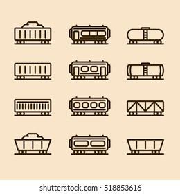 Cargo Wagon Train Container Minimalistic Flat Line Icon Set