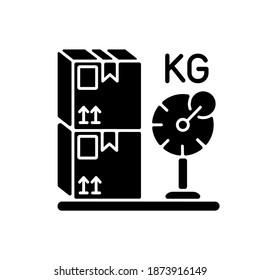 Cargo weight black glyph icon. Postal service, freight transportation silhouette symbol on white space. Measuring parcels mass. Heavy packages, cardboard boxes on scales vector isolated illustration