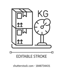 Cargo weight linear icon. Postal service, freight transportation thin line customizable illustration. Measuring parcels mass. Contour symbol. Vector isolated outline drawing. Editable stroke