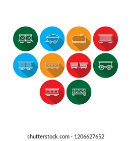 cargo,freight,passenger train and oil petroleum tank icon set with long shadow