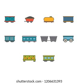 cargo,freight,passenger train and oil petroleum tank icon set flat color