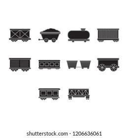 cargo,freight,passenger train and oil petroleum tank icon set flat black